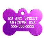 Large Purple Bone Personalized Pet Tag