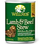 Wellness Canned Dog Food for Adult Dogs Lamb & Beef Stew with Brown Rice & Apples