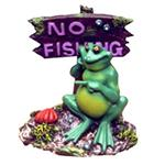 Resin Ornament - Potbelly Frog w/No Fishing Sign