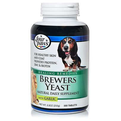 Four Paws Presents Brewer's Yeast (with Garlic) 1000 Tabs. For Healthy Skin and Coat, Brewers Yeast is a Common Daily Nutritional Supplement for Both Dogs and Cats. The Added Garlic Serves as a Natural Deterrent for Pests Like Fleas and Ticks, and may Sometimes Obviate the Need for Other Pesticides Entirely, Especially where Fleas and Ticks ArenT Abundant in a PetS Environment. Brewers Yeast Contains Essential Vitamins and Nutrients, Including Zinc and Biotin, which can Help to Ease or Prevent Skin Irritations or Fur Problems. Many Pet Owners have Found that Adding Brewers Yeast Regularly to their PetS Diet Greatly Improved Itchiness, Reduced Shedding, and Improved the Overall Look and Feel of their PetS Coat. Some Pet Owners also Find that the Proteins and Minerals in Brewers Yeast Helped their Pets to Become More Active. [11888]