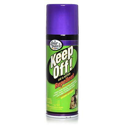 Four Paws Presents 4 Paws Cat Repellent Spray 6oz. 4 Paws Cat Repellent Spray will Keep your Cat Away from the Places that you don't Want them to Scratch and Force them to Use the Scratching Board. It is Scientifically Formulated to Deter your Cat from Scratching the Areas where it is Sprayed, but Humans will not Notice the Scent. 4 Paws Cat Repellent Spray is also Safe to Spray Outside, so you can Guard your Trees, Shrubs, Plants or Anything Else the Cat is Tempted to Claw or Climb. It's also Great for Protecting Trash Cans from Neighborhood Cats. The Spray is Effective for Up to 24 Hours, so You'll only have to Spray Once a Day. The 4 Paws Cat Repellent Spray can is Easy to Use; Applying it to the Areas you Want to Protect is, Literally, a Breeze. [10059]