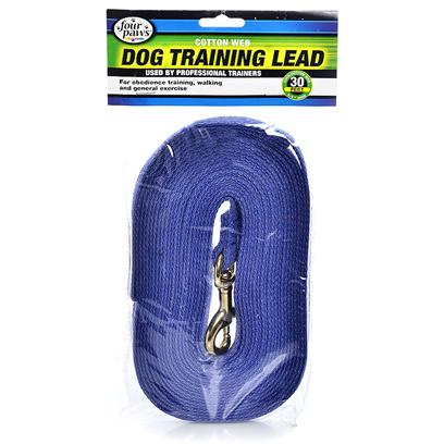 Four Paws Presents Cotton Web Leash Blue-30'. This High Quality Cotton Web Lead is Durable, Comfortable, and a Great Alternative to Nylon. This is the Leash of Choice for Most Obedience Schools and Trainers. [10102]