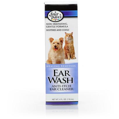 Four Paws Presents Four Paws Ear Wash 4oz. Keeping your Pets Ears Healthy and Clean is Vital to their Overall Health. Four Paws Ear Wash Cleaner Provides a Simple Way to Clean Ears and Remove Odor-Causing Ear Wax in Both Cats and Dogs. Using a Gentle Formula that WonT Irritate Pet Skin, this Ear Wash Soothes as it Cleans and Dries the Ear Canal. This Product is Safe to Use at Home, and can be Applied with a Clean Cloth or Cotton Ball. [10117]