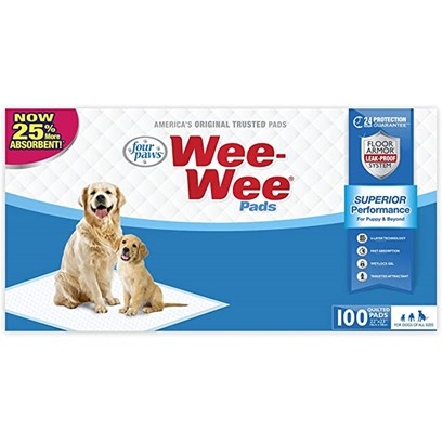 Four Paws Presents Four Paws Wee-Wee Pads 22' X 23' - 100 Pack. Help Aids for House Training Puppies, Wee Pads are Heavy-Duty, Super Absorbent Pads. They have Plastic Linings that Prevent Damage to Floors and Carpets. The Quick Drying Outer Layer Helps Control Order. Wee Pads Help Housetrain your Puppy with its Special Attractant. It can also be Used as a Substitute to the Outdoors when your Puppy is Unable to be Walked Outside. [15168]