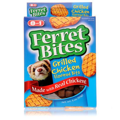 8 in 1 Presents 8 In1 Chicken Ferret Bites 4oz. Developed by Animal Nutritionists Specifically for Ferrets' Unique Needs, these Treats are a Nutritious as Well as Delicious Addition to any Ferret's Diet. 8 in 1 Chicken Ferret Bites are Soft and Chewy Snack Morsels that are Irresistible to Ferrets. Their Shape and Size Make them Easy for Ferrets to Eat, and their Soft Chewiness Makes them Easy to Digest. 8 in 1 Chicken Ferret Bites are Made with Real Chicken and Other Quality Products. They are a Delicious, High-Protein Treat Packed with Essential Fatty Acids and Vitamins, Including Vitamins a, E, B12, and D3, which Help to Promote a Healthy, Shiny and Lustrous Coat on your Pet Ferret. 8 in 1 Chicken Ferret Bites should be Offered to Ferrets in Small, Sensible-Sized Servings as an Occasional Treat, and should not Replace their Regular Diet. [10218]