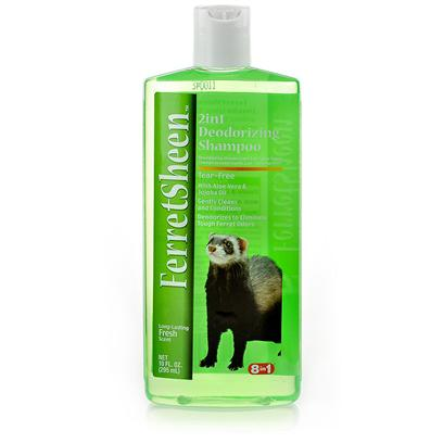 8 in 1 Presents 8 In1 Ferret Deodorizing Shampoo 10oz. 8 in 1 Ferret Deodorizing Shampoo Works to Keep your Beloved Pet Clean, Healthy and Smelling Pleasant. All you have to do is First Wet your Ferret's Coat Completely, then Lather with 8 in 1 Ferret Deodorizing Shampoo, Allowing a Few Minutes to Massage the Product into your Pet's Skin. Finally, Rinse your Ferret off to Reveal a Healthy and Clean Looking Coat! This Effective Shampoo Neutralizes Pet Odors on Contact by Using Enzymes and a Pleasant Fragrance, so you can Rest Assured that Those Odors will Disappear. This Product also Contains Jojoba Oil and Aloe Vera Gel, Two Gentle and Soothing Ingredients that Work to Condition your Ferret's Coat to a Glossy and Healthy Sheen. If you Need a Great Overall Cleanser for your Ferret, 8 in 1 Ferret Deodorizing Shampoo is the Perfect Product for You. [10225]