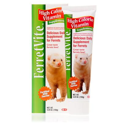 8 in 1 Presents 8 In1 Ferret-Vite 4.25oz. 8 in 1 Ferret-Vite is a High-Calorie Daily Supplement Specifically Made for the Nutritional Needs of Ferrets who are off their Normal Diets. Whether your Ferret is Ill or just Being a Picky Eater, 8 in 1 Ferret-Vite Helps Ensure that he or she Still Gets the Daily Nutrients they Need. Fortified with Taurine, an Amino Acid which Promotes Healthy Brain Development, 8 in 1 Ferret-Vite Helps to Stimulate your Ferret's Appetite and Aide Weight Gain. This Yummy Treat is not only Easy to Digest, but also Rich in Essential Fatty Acids which Help Promote Healthy Skin and a Glossy Coat. It Won't Take Long Before this Tasty Treat Becomes One of your Ferret's Favorites. Suggested Usage Add to Food or Feed Directly Once Daily. Safe for Ill Ferrets as Well Healthy Finicky Eaters. [10228]