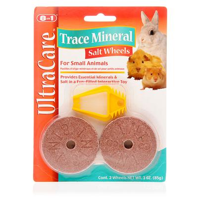 8 in 1 Presents 8 In1 Salt Wheel with Minerals 3oz/2 Pack. Commercial Small Animal Foods do not Always Provide Certain Essential Minerals. Trace Minerals and Salt are Needed to Supplement the Diets of Rabbits, Guinea Pigs, Gerbils, Hamsters, and Other Small Pets. The 8 in 1 Salt Wheel with Minerals Provides these Essential Trace Minerals, Including Salt, Manganese, Magnesium, Iron, Copper, Cobalt, Sulfur, Iodine, and Zinc. All are Combined in a Flavorful Hard Wheel that your Pet can Lick or Chew on as Needed. The Wheel is Designed to Spin when Attached to the Cage; your Pet not only Gets Nutrition, but also Exercise and Entertainment at the Same Time. With Proper Nutrition and Exercise, your Small Animal will be Healthier, Happier, and Live Longer. The 8 in 1 Salt Wheel with Minerals Provides the Ingredients that will Help your Pet Maintain Optimum Health Throughout its Life. [10268]