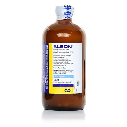 Pfizer Presents Albon Liquid 5% 16oz. Albon is a Sulfonamide Antibacterial Used in the Treatment of Infections Caused by Susceptible Bacteria. Albon is Indicated for the Treatment of Respiratory, Genitourinary Tract, Enteric, and Soft Tissue Infections in Dogs and Cats Such as Tonsillitis, Pharyngitis, Bronchitis, Pneumonia, Etc. [10288]