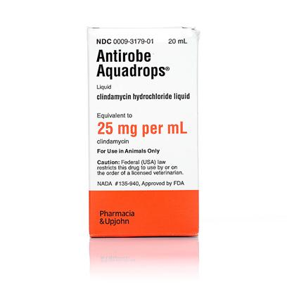 Buy Antirobe Aquadrop 25mg/Ml 20ml Bottle Antirobe (Clindamycin) is Used in the Treatment of Soft Tissue Infections, Dental Infections and Bone Infections Caused by Susceptible Strains of Bacteria. [10328]