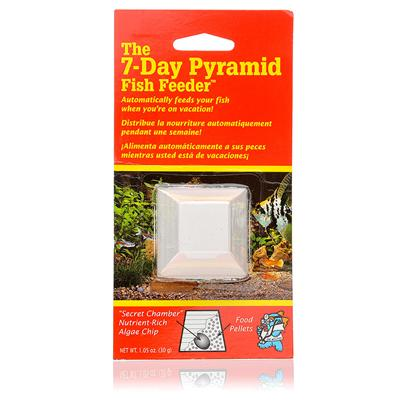 Aquarium Pharmaceuticals Presents Aquarium Pharmaceutical Pyramid 7 Day Feeder the 7-Day Fish. You Really Love your Fish, but you also Need to Leave Home for a Few Days. Who can you Trust to Feed them while You're Gone? The Aquarium Pharmaceutical Pyramid 7 Day Feeder is the Answer to your Problem. Safe, Convenient, and Effective, it Automatically Releases Tubifex Worms to Provide Effective Nutrition for Up to 20 Fish in a 10-Gallon Tank for Seven Days. You can have Peace of Mind, Knowing that the 7 Day Feeder Won't Leave your Door Unlocked or Forget to Feed your Fish. The Aquarium Pharmaceutical Pyramid 7 Day Feeder Works in Salt Water and Fresh Water. And it's Useful Even when You're Home--You don't have to Worry About Family Members Overfeeding or Underfeeding your Fish. Change the Feeder Weekly, and your Fish will Always have the Right Amount of Food at all Times. [10370]