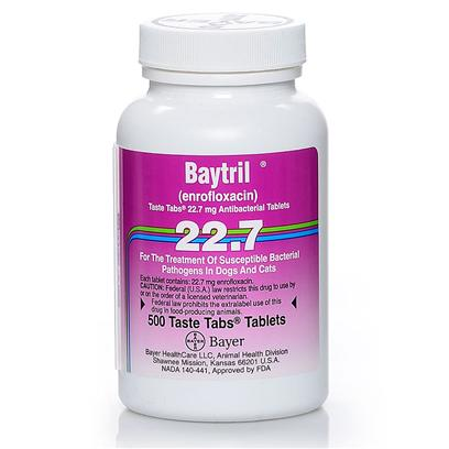 Bayer Presents Baytril Taste Tabs for Cats and Dogs 136mg Per Tablet. Baytril Taste Tabs are a Broad-Spectrum Antibiotic that Effectively Treats Canine Bacterial Infections of the Skin, Lungs, Liver, Gi and Urinary Tract, as Well as the Prostate. Baytril's Flavored Tablets Ensure Greater Pet Compliance in Taking the Medication. Baytril is a Fluroquinolone Antibiotic that can be Used to Treat Bacterial Infections that Target the Skin, Urinary Tract, Lungs, Gi Tract, Liver, and Prostate. Baytril Requires a Prescription from your Veterinarian. Baytril is Sold Per Tablet. [12793]