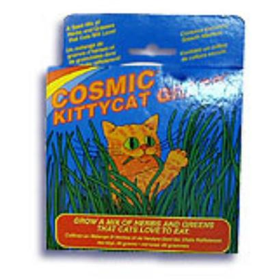 Cosmic Presents Cosmic Kittycat Grass Kitty Cat. Just Like an Outdoor Cat, an Indoor Cat Needs to Nibble on Grass to Prevent Hairballs and Get Important Nutrients Like Folic Acid. Cosmic Kittycat Grass is a Natural Blend of Herbs and Greens to Satisfy Cats and Kittens. You can Easily Grow it at Home as it Comes in a do-it-Yourself Growing System. Your Cats will Love the Safe and Natural Grass, and You'll Love how Happy it Makes your Kitty. [10608]