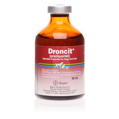 Bayer Presents Droncit Injectable 50ml. Droncit Injectable Cestocide is Indicated for the Removal of the Following Canine and/or Feline Cestodes Dogs Dipylidium Caninum, Taenia Pisiformis, Echinococcus Granulosus and for the Removal and Control of Echinococcus Multilocularis. Cats Taenia Taeniaeformis and Dipylidium Caninum. [10664]