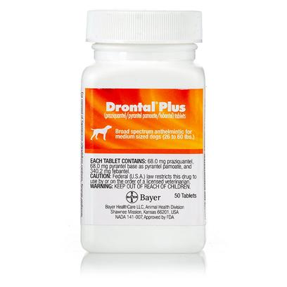 Bayer Presents Drontal Plus for Dogs-68mg K-9,Per Pill. Drontal Plus for Dogs is a Prescription Medication with Ring Worm, Tapeworm and Whipworm. It is a Broad Spectrum Dewormer that is Given in a Single Dose as Directed by your Veterinarian. [10669]
