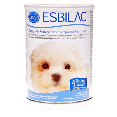 Esbilac Presents Esbilac Puppy Milk Replacer Powder 12oz Can. Puppies Need their Mama's Milk, but Sometimes it's not Enough. Sometimes it's not Available at All. Esbilac Puppy Milk Replacer is the World's Number 1 Milk Replacer for Puppies and an Invaluable Supplement. The Life-Saving Formula Closely Matches Mom's Milk in Protein and Energy and is Fortified with Vitamins and Minerals. The Easy-to-Mix, Tasty Powder Simulates Mother's Milk for Puppies, Rabbits, Ferrets, Squirrels, Chipmunks, Beavers, Chinchillas, Guinea Pigs, and Opossums. [10692]