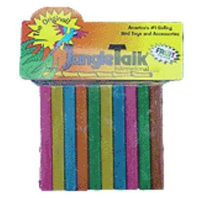 Jungle Talk Presents Jungletalk Toy Manzanita Small. Half-Inch Slabs of Manzanita Wood Combine with Brightly Colored, Fruity Hardwood Shapes for a Marriage Made in Heaven! Complete with Working Bell, these Toys are Sure to Tickle the Fancy of any Bird. [11108]