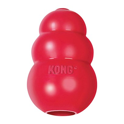 Kong Company Presents Kong Classic Dog Toy Large 4' (Dogs 30-65lbs). Dogs Need Playtime Like Parents Need Coffee, so Make that Game of Fetch Even More Enjoyable with the Kong Classic Dog Toy. Perfect for Playing with your Pup Both Indoors and Outside, the Kong Classic Dog Toy is Recommended by Veterinarians, Trainers, Dog Professionals and Satisfied Customers Worldwide. The Kong Classic Dog Toy, which Bounces, will Help Keep your Dog Occupied and Mentally Stimulated while they Get the Exercise they Need to Maintain a Healthy and Happy Lifestyle. You can Even Reward your Dog with a Hidden Treat! This Classic Toy has a Hollow Center that can be Filled with a Tasty Surprise. [12450]
