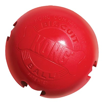 Kong Company Presents Kong Biscuit Ball Dog Toy Large 30 to 65lbs. Keep Em Busy, Keep Em Happy! The Kong Biscuit Ball is Specially Designed to Keep your Dog Active and Thinking, Even if itS About Treats. The Hollow Rubber Ball, with Four Biscuit Openings, is Super Durable, and Intended for Medium to Large Dogs. Just Fill with Treats, and Watch your Dog Solve the Puzzle. It Keeps Him Active and Entertained while he Tries to Get the Biscuits. Says a Reviewer of the Kong Biscuit Ball. [11124]