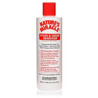 Nature's Miracle Presents Nature's Miracle-Stain and Odor Remover 32oz (1 Quart). Natures Miracle Stain/Odor Remover, with its Powerful Enzymes, is Able to Neutralize and Eliminate Odors and Stains Permanently. From Food to Grease, Grass, Dirt, Blood, Vomit, Feces and Even Urine, Natures Miracle Stain/Odor Remover can Eliminate them All. Because it is Safe to Use Around Pets and Children, you can Use it on Furniture, Clothing, your Pet's Bedding, as Well as Floors and Carpets. To Eliminate Odors, Wipe Up Excess Material Causing the Odor. Thoroughly Soak the Area and Allow to Air Dry. For Stains, again Wipe Up Excess Material and Thoroughly Soak the Area. After Waiting for Five Minutes, Wipe the Area with a Cloth. If any Stain Still Remains, Repeat the Process of Soaking the Area, this Time for an Hour, Before Wiping. Every Home, and Especially Homes with Pets, should not be without Natures Miracle Stain/Odor Remover! [11212]