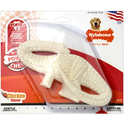 Nylabone Presents Nylabone Dental Dinosaur Dog Chew 6'. Dental Health for your Chewosauruswho Says Dental Care has to be Boring? This Unique Dinosaur-Shaped Toy was Specially Designed to Clean your Dog'S Teeth and Gums while Withstanding the Chompers of Heavy Chewers. The Contoured Shape lets Nylabone Dental Dinosaur Reach Different Corners of your Dog'S Mouth so that the Raised Cleaning Tips can Get to Work Removing Stubborn Plaque and Tartar. It'S a Beneficial Chew for any Dog, Even Teething Pups. Available in Three Sizes - Brontosaurus, Tyrannosaurus Rex, and Stegosaurus. Let us Choose for You! [38033]