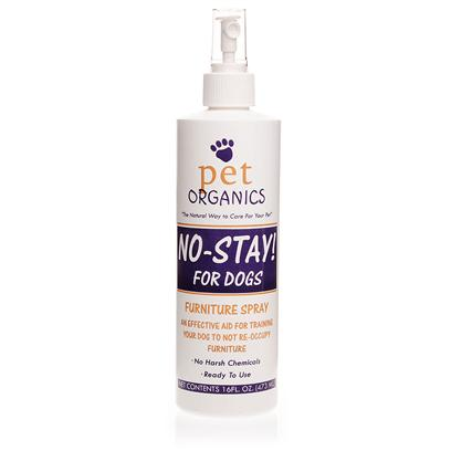 Pet Organics Presents Pet Organics no-Stay Furniture Spray 16oz. Pet Organics no-Stay Furniture Spray is a Beneficial Product that Every Pet Owner would Love to Own. The Harmless Blend of Natural Herbs in it Makes Treated Surfaces Undesirable to Dogs and Prevents your them from Scratching at your Furniture or Spoiling your Furniture with Pet Mess. Spraying these Safe, Natural Repellents Directly on the off-Limits Spot Teaches Pets to Stay Away from Certain Areas. [11707]