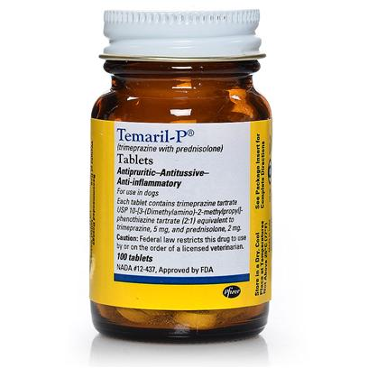 Pfizer Presents Temaril-P ( Trimeprazine/Prednisolone) 5mg. Temaril-P (Trimeprazine / Prednisolone) is an Fda-Approved Prescription Medication for Dogs that is Used to Treat Itching and Coughing (Including Kennel Cough) in Dogs. The Combination Formula Provides a Three-Way Therapeutic Effect Antipruritic, Antitussive, and Anti-Inflammatory. The Trimeprazine in Temaril-P Acts as an Agent for Antipruritic and Antitussive and Helps Relieve Frustrating Bouts of Itching and Coughing. The Prednisolone Acts as the Anti-Inflammatory Agent, Providing Treatment for Inflammation and Pain. Temaril-P also Prevents the Development of Pustules (Raw Areas) that are Created by Excessive Scratching. [11797]