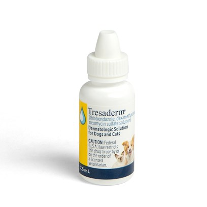 Merial Presents Tresaderm 7.5ml Each. Tresaderm for Dogs and Cats is an Antibiotic Used for Bacterial Skin Conditions and Ear Inflammation. It is also Used for Fungal and Inflammatory Skin Disorders. Within a Week Infections are Eradicated by Correctly Use of Tresaderm. Make Sure to Keep Tresaderm Refrigerated. Due to its Need to be Refrigerated Additional Shipping Costs may Apply. Tresaderm Requires a Prescription from your Veterinarian. [11814]