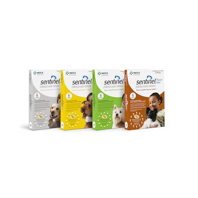Novartis Presents Sentinel Flavor Tabs Yellow 26-50 Lbs 6 Month Supply. []