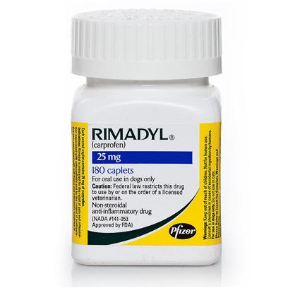 Pfizer Presents Rimadyl (Carprofen) Per Caplet 25mg. Rimadyl is a 24-Hour, Non-Steroidal Anti-Inflammatory (Nsaid) Intended to Relieve Arthritis, Joint and Post-Operative Pain. It also Works to Reduce Fever. Rimadyl is a Prescription Medication for Dogs and Pups 6 Weeks and Older, Available in Caplets or Chewable Tablets. [11871]
