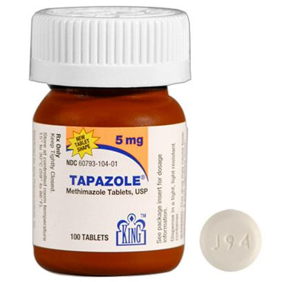 King Pharma Presents Tapazole 5mg Per Tablet. Hyperthyroidism is a Condition in which the Thyroid Gland Produces Too Much Thyroid Hormone. Tapazole Works to Suppress the Amount of Thyroid Hormone Produced. In some Instances, Tapazole is Prescribed as a Preparatory Treatment for Thyroid Surgery or Radioactive Iodine Therapy. This Drug can also be Used to Treat Graves Disease.If your Cat Suffers from Hyperthyroidism, Speak with your Veterinarian Today. After Performing Blood Tests to Determine the Proper Dosage for your Pet, your Veterinarian can Prescribe Tapazole. Note that the Standard Dosage of this Medication is 5mg Every Eight to Twelve Hours. Routine Blood Work will Need to be Performed.Give this Medication as Prescribed by your Pet's Veterinarian. This Drug can be Given with or without Food, but be Sure to Allow your Cat Plenty of Drinking Water. For More Information, Speak with your Veterinarian or Pharmacist. [11894]