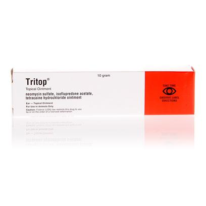 Buy Tritop Ointment 10gm the Tritop Ointment can be Used as a Short-Term or Long-Term Therapy Treatment for External Conditions Such as Inflammation of the Outer Ear or Mucous Membranes. This Medicated Ointment is also Effective for Healing Minor Cuts, Scratches, Superficial Wounds and Incisions After Surgical Procedures on Dogs, Cats and Horses. The Tritop Ointment has also been Found to be Effective when Used as a Therapeutic Treatment for Abrasions of the Ears and Skin that are Often Caused by Steroid Responsive Dermatoses, which Inflicts Disease on Certain Animals.This Potent Creamy Ointment Contains an Added Anesthetic that Helps to Reduce Pain when Applied to Affected Areas, as Well as a Strong Anti-Inflammatory Agent that Reduces the Swelling Often Followed After an Injury. Additionally, the Tritop Ointment is a Strong Medicated Ointment that can Reduce the Risk of Serious Infections in Horses, Dogs and Cats. [11895]