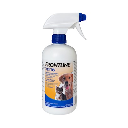 Merial Presents Frontline Spray 17 Fl Oz (500ml). Frontline Spray is a Fast-Acting, Long-Lasting Waterproof Treatment for Fleas and Ticks that can be Used for Emergency Infestations, or on a Monthly Basis. The Active Ingredient in Frontline Spray for Dogs and Cats is Fipronil, the Same Active Ingredient Found in Other Frontline Products. Fipronil is a Broad-Spectrum Insecticide that Disrupts the Central Nervous System of Fleas and Ticks, Killing Fleas in as Few as 18 Hours and Ticks Within 48 Hours of Application. Frontline Spray for Dogs and Cats Remains Effective Up to 30 Days, Even if your Pets Get Wet. It will not only Stop Existing Infestations, but Prevent Establishment of New Infestations, and Aids in Controlling Sarcoptic Mange Infestations in Dogs. For Best Results, Treatment should Begin Prior to the Onset of Flea Season. Frontline Flea and Tick Spray can be Used on Puppies and Kittens 8 Weeks of Age or Older. [17378]