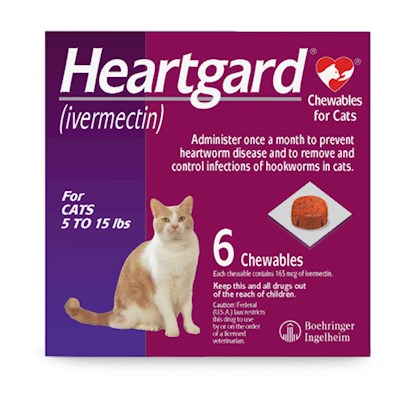 Merial Presents Heartgard for Cats 5-15lbs 6 Chewable Tabs. Cats Often Fall Victim to Heartworms, Pinworms, Intestinal Threadworms, and Other Nasty Parasites. Help Keep your Cat Safe from these Intruders with Heartgard for Cats, a Chewable Tablet that Kills Existing Parasites and Prevents Future Infections in your Cat. Heartgard Chewables Prevent Heartworm from Developing into its Harmful Stages by Blocking it in its Tissue Stage. It is Fda Approved, so you can Rest Assured youRe Getting the Best Possible Heartworm Medication for your Cat. [11916]