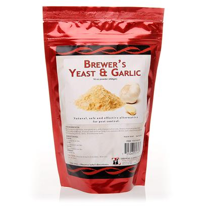 Thomas Labs Presents Brewer's Yeast &amp; Garlic 16oz. Oh Fleas, the Bane of a Pet Owner's Existence. The Collars and the Dips are Great, but Sometimes you Want a More Natural Approach. Brewer's Yeast &amp; Garlic is an Excellent Natural, High Quality Source of B Complex Vitamins and Protein for Dogs and Cats. Give it to your Dogs and Cats (and Horses!) with Skin Conditions Suffered During Parasite Season. The Highly Palatable Powder can be Mixed with your Pet's Food Making it Easy to Protect them Against the Trials and Tribulations of Pests. [11926]