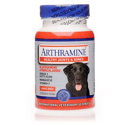 International Veterinary Sciences Presents Arthramine Large Dogs-60 Chewable Tabs. Arthramine is an over-the-Counter Supplement Used to Treat Joint Pain and Stiffness in Dogs. The Formula Decreases Inflammation, Stiffness, and Pain with Nutrients that are Essential for Joint Health and Support. Arthramine Comes in Convenient Chewable Tablets in a Tasty Liver Flavor and is Made with Quality all-Natural Ingredients that You'll Feel Good Giving to your Dog. [11974]