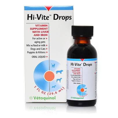 Evsco Pharma Presents Hi-Vite Drops 1oz. If only our Pets Could Talk. They'd Say, 'Hey, I Need a Vitamin Supplement to Stay Healthy. Just Like You.' Hi-Vite Drops are a Veterinarian-Recommended Supplement Specially Formulated for Dogs and Cats with Liver and Iron Deficiencies. The Drops are Fortified with Antioxidants to Help your Pets Look and Feel their Best. Plus the Dropper Makes it Easy to Administer them by Mouth or Mix them with Water or Food. [12041]