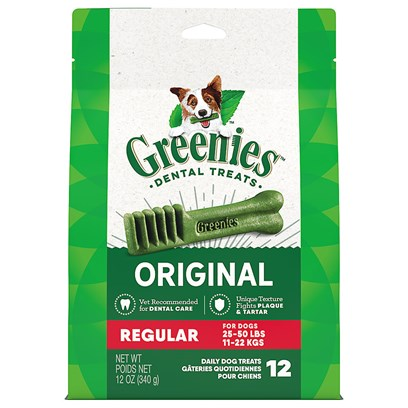 Greenies Presents Greenies Regular-Dogs 25 to 50lbs/6 Treats 6oz. Greenies are Easily Digestible, Toothbrush Shaped, Chewy Dental Treats, Containing 52% High-Quality Proteins, Fiber, Antioxidants from Fruits and Vegetables, and Chlorophyll for Dental Health. These Tasty Treats are Textured to Aid in Plaque Reduction, and the Signature Tooth-Brush Shape is Designed Specifically to Maximize Plaque and Tartar Removal. Greenies are Available in Sizes Based on DogS Skull Size, and are for Dogs and Pups 6 Months and Older, Weighing 5 Pounds or More. [16001]