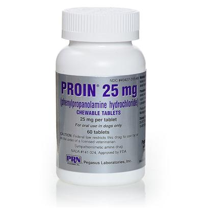 Prn Pharmacal Presents Proin (Phenylpropanolamine) 25mg Per Chewable Tablet. Proin is a Prescription, Liver Flavored Chewable Tablet, Intended to Manage Urinary Incontinence in Dogs, by Constricting and Strengthening the Urinary Sphincter. Proin is a Supplemental Adrenergic Agent, which Means it Mimics Adrenaline or Epinephrine, which are the Hormones Needed to Trigger Vasoconstriction, the Constriction of Blood Vessels. Proin also Maintains Balanced Phenylpropanolamine Levels, Helping to Prevent the Negative Side Effects Associated with High Levels, Including Heightened Blood Pressure, and Hyperexciteability. Proin is a Classified Controlled Substance in Arkansas, Iowa, Louisiana and Oregon. [12147]