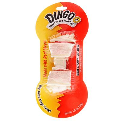 Dingo Brand Presents Dingo (Meat in the Middle) Bone Large 8.5' (3.5oz). Rawhide Bones are Great for your Pet's Health. The Dingo Bone is a High-Quality, Low-Fat Snack and Great for your Teething Puppy. Packed with Flavor, your Pet will Want to Keep Coming Back for More. This Rawhide Bone is Special because it is has a Real Meat Fillet Tied into it as Well, Making it Even More Desirable. Only the Highest of Quality Materials are Used to Make Dingo Bones.Chewing a Dingo Bone is Good for your Pet's Teeth. It Prevents Tartar Buildup and Strengthens your Dog's Jaw. After Chewing on One of these Bones, your Dog will be Very Happy.Made under Usda Specifications, you Know it can be a Trusted Snack. Just Open the Bag and your Pets will Come Running to You. [12377]