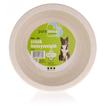 Van Ness Presents Pureness Crock Heavyweight Dish Medium-1 Quart. Your Dog doesn't just Eat his Dinner; he Attacks It. Get Him a Pureness Crock Heavyweight Dish. It will Last through Vigorous Sessions of Dragging, Chewing, and Other Abuse. The Dishes are also Eco-Friendly and Made of 20% Recycled Content [12498]