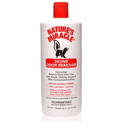 Nature's Miracle Presents Natures Miracle Skunk Odor Remover 32oz Bottle. Tired of all Attempts to Remove Those Tough-to-Get-out Skunk Odors? Go Get the New NatureS Miracle Skunk Odor Remover Now! This Effective Product Easily and Safely Removes all Sorts of Skunk Odors. It has a Safe and Effective Formula that Acts Quickly and can be Safely Used on Pets, Clothing, Carpets and Other Contaminated Surfaces. [12514]