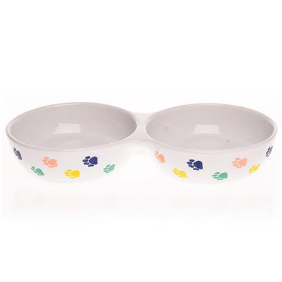 Ethical Presents Paw Print Design Ceramic Dish Single 5''. Treat your Cat to a Good Meal in this Stylish Paw Print Cat Diner. [13159]