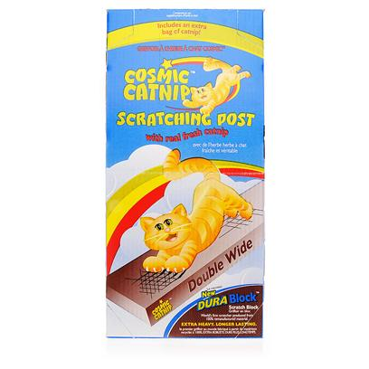 Cosmic Presents Cosmic Catnip Scratching Post Double Wide. Cats Scratch Things for Several Reasons, One of which is to Trim their Claws. The Cosmic Catnip Scratching Post Enables Cats to Act out a Much Needed Form of Maintenance. Cats Claws are Constantly Growing, and they Periodically Claw at Things to Get Rid of the Sheath Encasing Each Claw. They Instinctively Know how to Claw so as to Best Maintain Healthy Claws, and Often Prefer Solid or Ridged Surfaces to Claw At. There is Catnip Within this Post, which will Invariably Draw your Cats Attention. TheyLl Want to Scratch at the Post not only to Groom their Claws, but also to Gain Access to the Catnip Within. YouLl Love this Post because it will Help Keep your Furniture Safe. [12982]