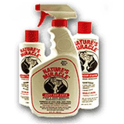 Nature's Miracle Presents Nature's Miracle just for Cats 24oz Liquid Spray. This Nature's Miracle Product is Used to Remove Cat Spray, Urine, Vomit, Feces, and Other Stains and Odors Caused by your Cat. It also Discourages Cats Resoiling in the Same Areas Again. [13298]