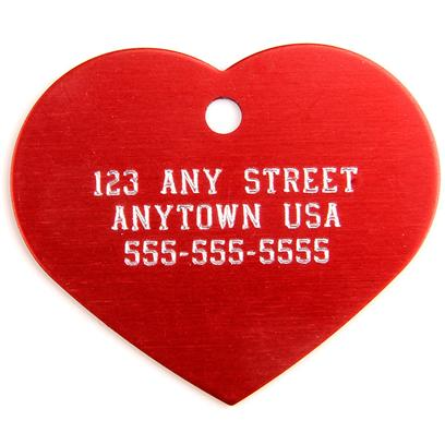 Buy Large Red Heart Personalized Pet Tag Tag-1.25' X 1.5' this Quality Metal I.D. Tag can be Adapted Using Personal Engraving to Make it a Special, Personalized Gift for you and your Pet. The Automatically Centered, Upper Case Engraving is an Option you will Love! [13278]
