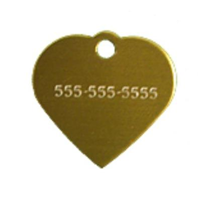 Petcarerx Presents Small Gold Heart Personalized Pet Tag 1' X. High Quality Metallic Tags can be Used for Id or for Fun. Measures 1'' High X 1'' Wide. [13281]