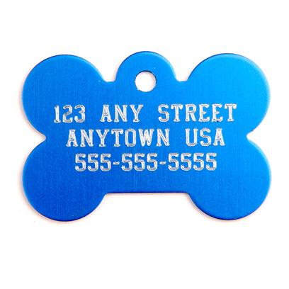Buy Large Blue Bone Personalized Pet Tag 1.5'x1' this Quality Metal I.D. Tag is Attractive and Comfortable for your Pet, and can Hold Up to Four Lines of Text for a Personalized Touch. The Text is Engraved in the Upper Case, Centered, and Sized to Fit the Maximum Space Available. You and your Pet will Love It! Having an Id Tag on your Pet's Collar is Essential to Ensuring your Dog will Return Home Safe. [13282]