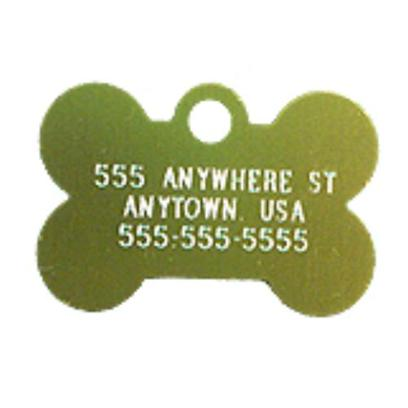Petcarerx Presents Small Gold Bone Personalized Pet Tag 1.1'' X 0.75''. High Quality Metallic Tags can be Used for Id or for Fun. Measures 3/4'' High X 1 1/8'' Wide. [13283]