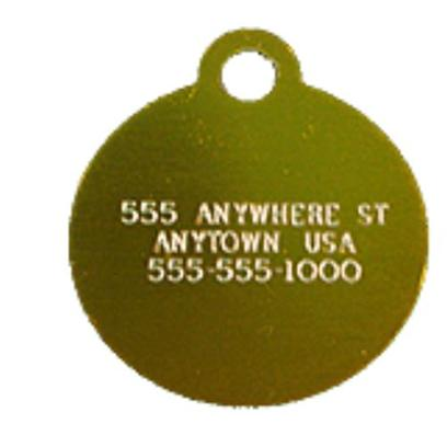 Petcarerx Presents Small Gold Circle Personalized Pet Tag 7/8' X. High Quality Metallic Tags can be Used for Id or for Fun. Measures 1'' High X 7/8'' Wide. [13285]